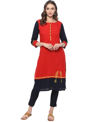 Red plain cotton ethnic kurta