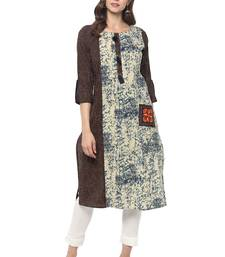 Beige printed cotton ethnic kurta