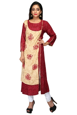 Multicolor hand woven cotton stitched kurti