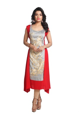 Multicolor Hand Woven Silk Stitched Kurti