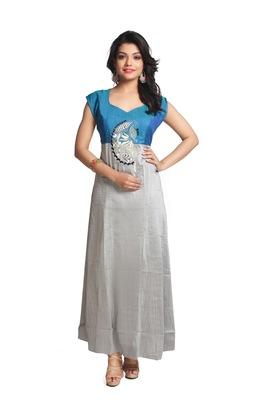 Multicolor hand woven silk stitched kurti