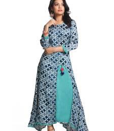 Buy Multicolor hand woven rayon stitched kurti kurtas-and-kurtis online