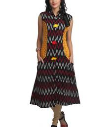 Multicolor Hand Woven Cotton Stitched Kurti
