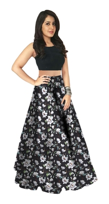 Multicolor Printed Satin Semi Stitched Lehenga