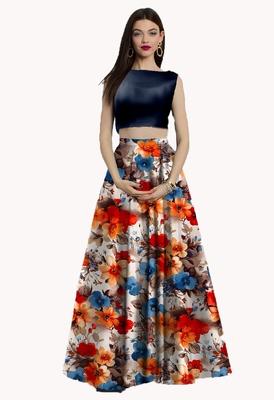 Multicolor Printed Satin Semi Stitched Lehenga