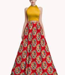 Buy Multicolor printed satin semi stitched lehenga floral-lehenga online