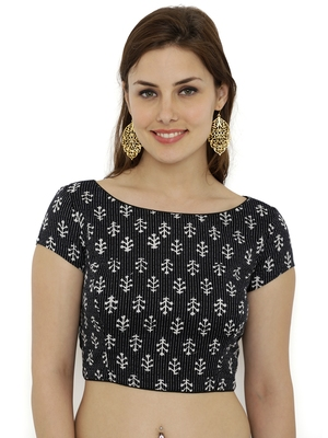 Black  and  white plain cotton party stitched blouse