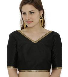 Black plain polyester party stitched blouse