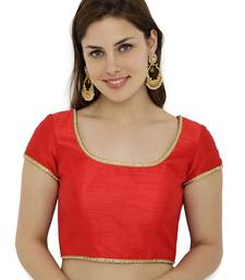 Red plain polyester party stitched blouse