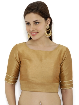 Khaki gold plain polyester party stitched blouse