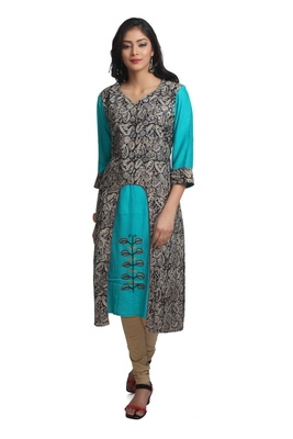 Multicolor Hand Woven Cotton Silk Stitched Kurti