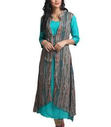 Multicolor hand woven rayon stitched kurti