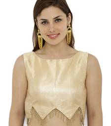 Gold plain polyester party stitched blouse
