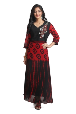 Multicolor Hand Woven Georgette Stitched Kurti