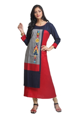 Multicolor Hand Woven Rayon Stitched Kurti