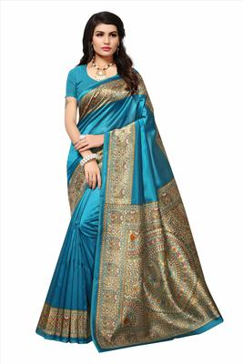 Light blue printed silk saree with blouse