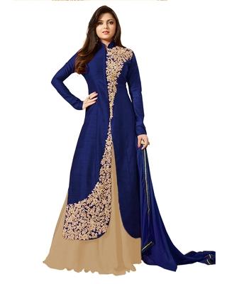 Blue embroidered art silk salwar