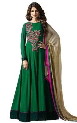 Green embroidered georgette salwar