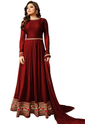 Maroon embroidered georgette salwar