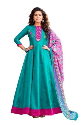 Turquoise embroidered art silk salwar