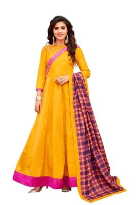 Yellow embroidered art silk salwar