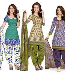 Buy Multicolor printed cotton poly salwar salwar-combo online