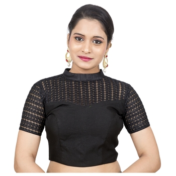 Black Jute Silk Self Design stitched blouse