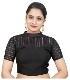 Black Jute Silk Self Design stitched blouse