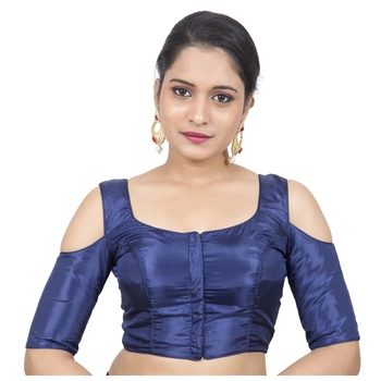 Dark Blue Cotton Silk Solid stitched blouse
