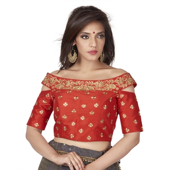 Red Cotton Silk Embriodered stitched blouse