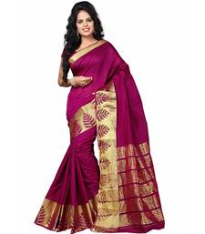 Buy Purple woven banarasi silk saree with blouse art-silk-saree online