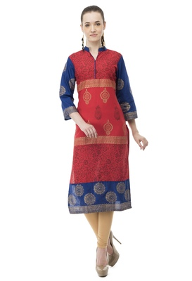 Red printed cotton party-wear-kurtis