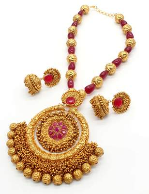 Ruby red temple necklace set jewellery for women