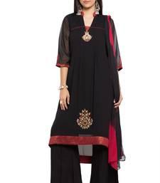 Buy Black embroidered georgette salwar palazzo online