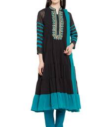Buy Black embroidered georgette salwar plus-size-salwar online