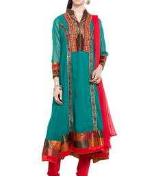 Buy Green embroidered georgette salwar readymade-suit online