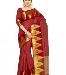 Maroon Woven Tussar Silk Saree With Blouse