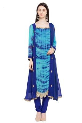 Blue Printed Georgette Salwar