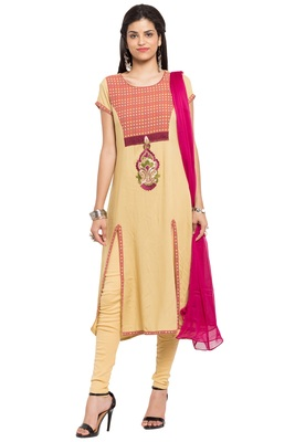 Beige Embroidered Cotton Salwar