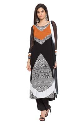 Black Printed Georgette Salwar