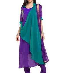 Buy Purple embroidered georgette salwar readymade-suit online