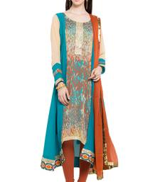 Buy Teal printed georgette salwar readymade-suit online