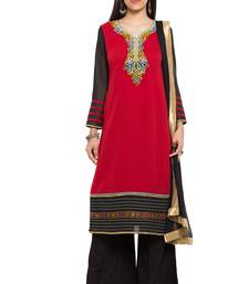 Buy Red embroidered georgette salwar readymade-suit online