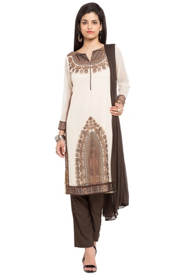 Beige Embroidered Georgette Salwar