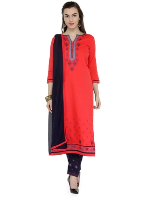 Multi coloured embroidered cotton  unstitched salwar with dupatta