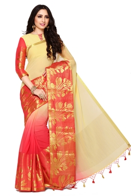 Pink & Beige Woven Chiffon Saree With Blouse