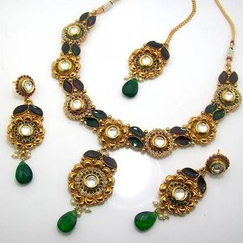 Designer Polki Necklace with Meena Finish Green Maroon
