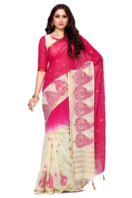 Multicolor Embroidered Saree With Blouse