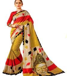 Gold Printed Banglori Silk Saree With Blouse