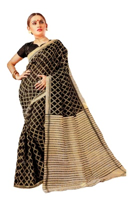 Black Printed Banglori Silk Saree With Blouse